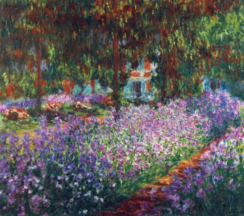 Monet's garden in Giverny by Claude Monet Giclee Fine ArtPrint Repro on Canvas