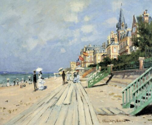 Beach at trouville by Claude Monet Giclee Fine ArtPrint Reproduction on Canvas