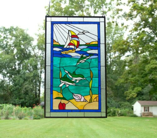 """20"""" x 34"""" Dolphin Boat Seashore Beach Handcrafted stained glass window panel"""