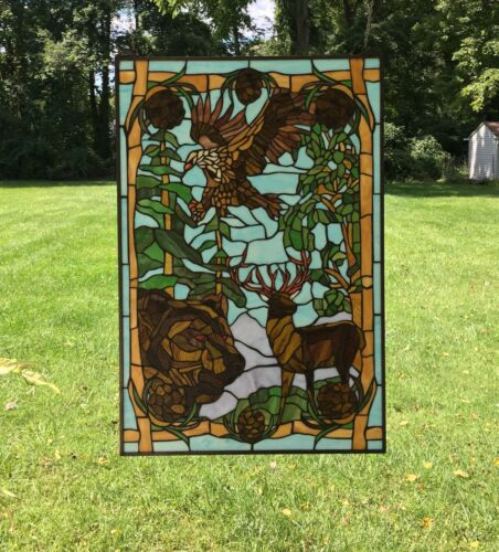 """24"""" x 36"""" Bald Eagle Bear and Deer Tiffany Style stained glass window panel"""