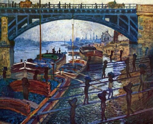 The coal carrier by Claude Monet Giclee Fine ArtPrint Reproduction on Canvas