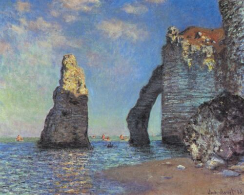 The rocky cliffs of Étretat by Claude Monet Giclee Reproduction on Canvas