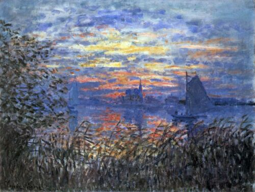 Sunset on the Seine by Claude Monet Giclee Fine ArtPrint Repro on Canvas