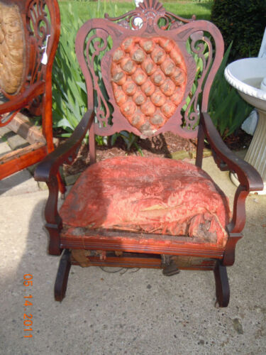 Highly Carved Antique HARDWOOD Rocking Chair~For Restoration~RARE to come by!
