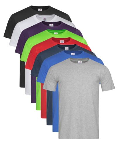 Mens Crew Neck Plain Classic-T Fitted Short Sleeve Cotton Tee T-Shirt Tshirt