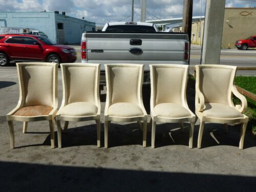 5 STUNNING  1970'S  OVERSIZED NEOCLASSICAL TESSELLATED BONE CHAIRS
