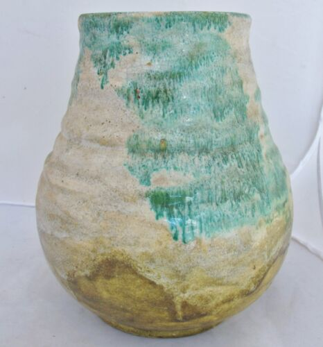 "9.9""  Signed Antique Japanese Thick Pottery Vase w/ White & Green Drip Glaze"
