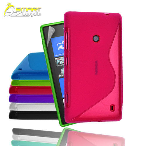 S Curve Gel Case+ Free Screen Guard for Nokia Lumia 525 Jelly Tpu soft cover