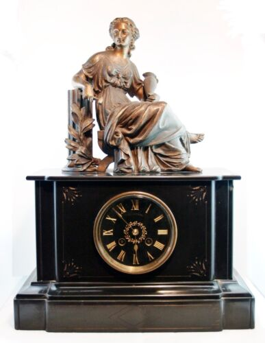 XIXs ANTIQUE FRENCH EMPIRE TABLE CLOCK MANTLE BRONZE & MARBLE SOLID WEIGHTER