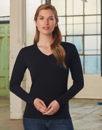 LADIES STRETCH LONG SLEEVE TEE Top Cotton V Neck Black Work Office