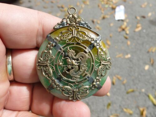 VINTAGE CHINESE JADE  PENDANT WITH DRAGON METAL OVERLAY