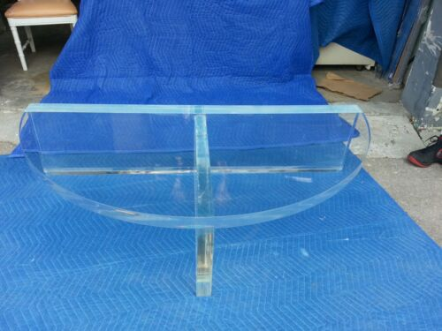 SUPERB HIGH END 70'S VERY THICK SLAB LUCITE COFFEE MADE 4 CURVED SECTIONAL SOFA