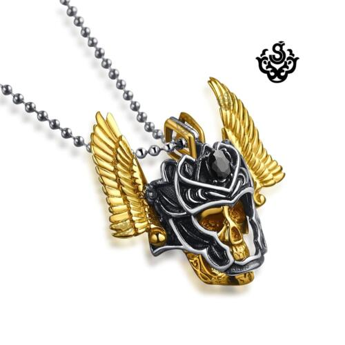 Gold skull silver mask solider pendant stainless steel necklace black crystal
