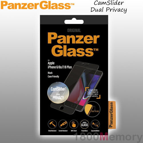 GENUINE PanzerGlass CamSlider Dual Privacy Screen Protector fo iPhone 6 7 8 Plus