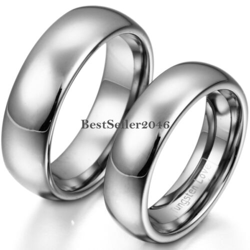 Comfort Fit Polished Silver Tone Dome Tungsten Carbide Ring Couples Wedding Band