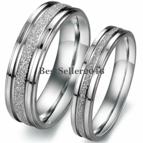 Silver Tone Stainless Steel Frosted Centered Wedding Band Couple Engagement Ring