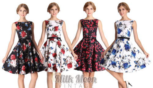 New Vintage 1950s Style Floral Rose Pattern Swing Circle Party Dress Plus Size