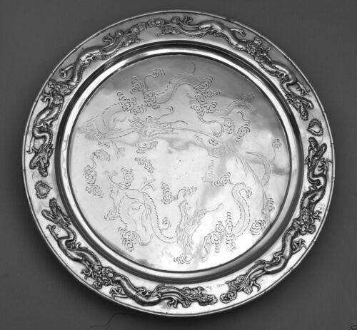 1117 gr ANTIQUE QING CUMWO CHINESE EXPORT SILVER TRAY DISH DRAGON CHINA 19TH C