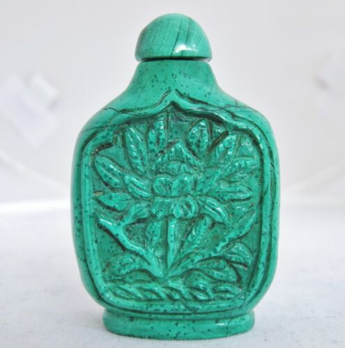"""2.05"""" Vintage ? Chinese Malachite or Green Stone Snuff Bottle with Carved Flower"""