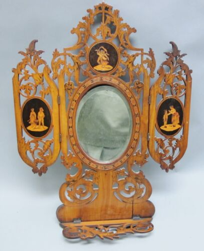 Fine Antique Italian Hand-Carved Rosewood Parquetry Folding Mirror  c. 1900