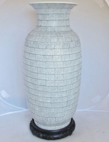 """BIG 17.3"""" Chinese ? White Snake Skin / Fish Scale Textured Vase & Wood Stand"""