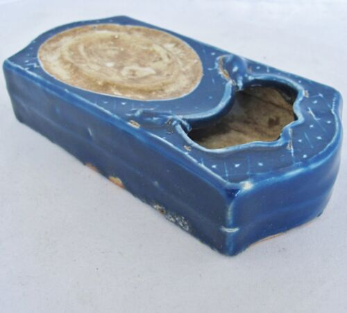 """6.55"""" Chinese Cobalt Blue Glazed Porcelain Ink Stone / Water Coupe with 2 Mice"""