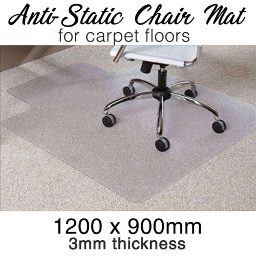 Office CHAIR MAT -Carpet- Computer Safe ANTI-STATIC 1200mm x 900mm x 3mm