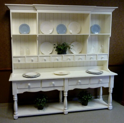 Large Pine French Farmhouse Wide Hutch, Beaded Board Back, a Classic, USA Made