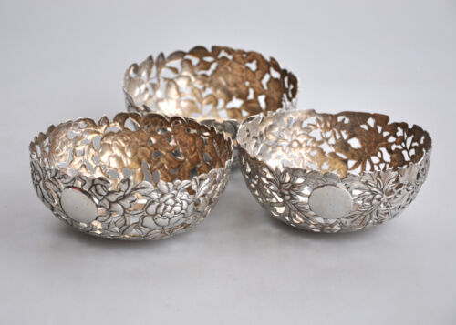 LOT 3 ANTIQUE CHINESE EXPORT SILVER CHRYSANTHEMUM BOWL KK CHINA 1900