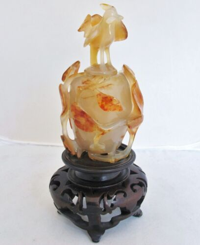 "5.35"" Chinese Carved Carnelian Agate Urn / Snuff Bottle w/ Leaves & Baby PHOENIX"