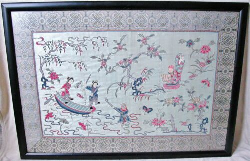 """BIG Chinese Forbidden Stitch Embroidery Silk Panel with Immortals & 40.25"""" Frame"""