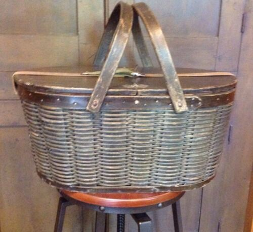 Antique Wooden Picnic Basket Hawkeye Pat 1902 Refrigerator W Tin Inserts VCG