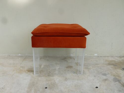 FAB 70'S BURNT ORANGE BENCH WITH LUCITE LEGS