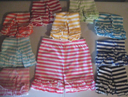 Ruffle Trimmed Shorts Cotton Jersey Stripe Mid-Thigh TEN COLORS Girls 2T-16
