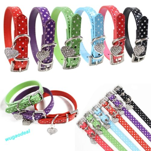 Pet Cat Dog Adjustable PU Leather Polka Dot Rhinestone Buckle Neck Strap Collar