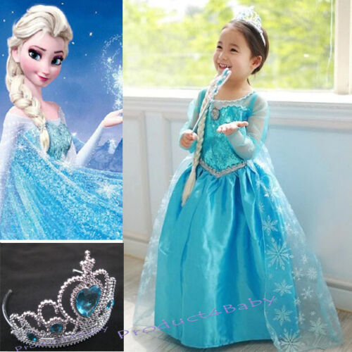 NEW Girls Dress Costume Princess Queen Elsa Party Birthday size 1-12Yrears