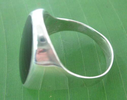"925 sterling silver OVAL BLACK ONYX Plain ""SOLID"" RING size 7.75 US to 14.75 MEN"