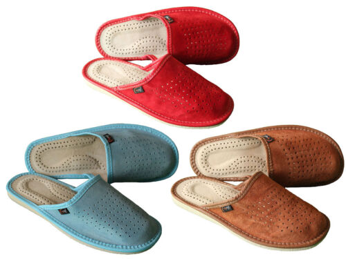 Womens Leather Slippers Soft Suede Eco Slip On Size 3 4 5 6 7 8 Ladies Mule Shoe
