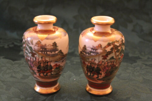 Pair of Japanese Ceramic Mirror Image Satsuma Vases