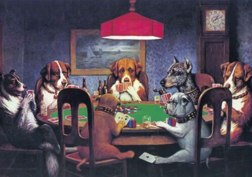 Dogs Playing Poker - Huge A1 size Vintage Canvas Wall Art Print Poster Unframed