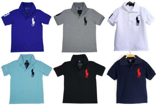 NEW Boys Girls Unisex short sleeve polo T-shirt top Tee 13 colors size 2.3.4.5.6