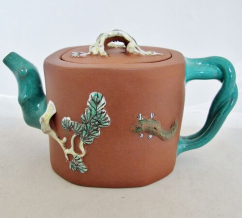 "Old Chinese YIXING Clay Teapot w/ Teal Enameled Tree Trunk Spout & Handle (6.5"")"