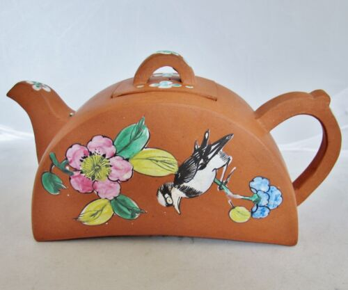 """Chinese YIXING Clay Teapot w/ Enameled Bird, Branches & Flowers  (6.7"""")"""