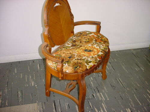 Rare Antique Cloth and Wood Vanity Chair