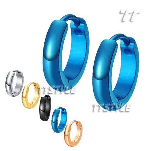 TTstyle Stainless Steel Round Hoop Earrings 5 Colors Choose Different Size NEW