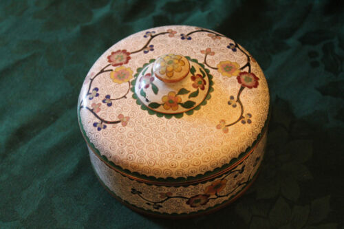Old Chinese Cloisonne Box with Lid White with Flowers