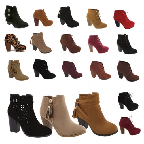 Womens High Heels Booties Platform Ankle Lace Up Boots Fashion shoes Winter size