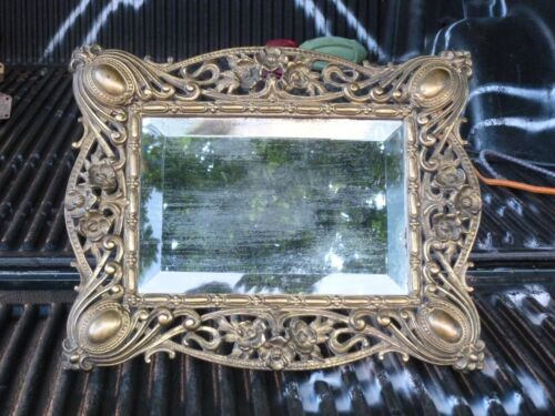 LARGE IMPOSING ART NOUVEAU / BELLE EPOQUE MIRROR IN ORNATE CHASED BRONZE FRAME