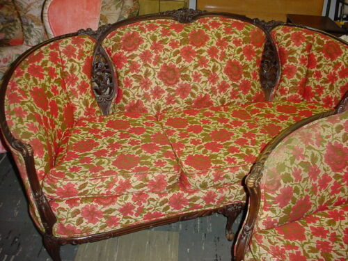 Reduced $1000! Antique Carved Wood and red floral parlor sofa and matching roun