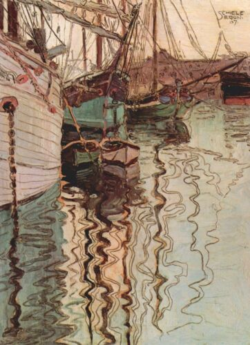 Sailboats in wellenbewegtem water by Egon Schiele Giclee Print Repro on Canvas